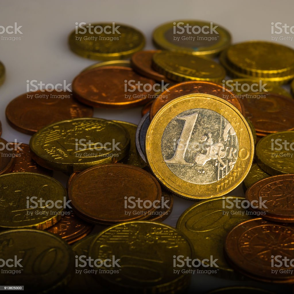 one euro and coins. Eurocent coins. stock photo