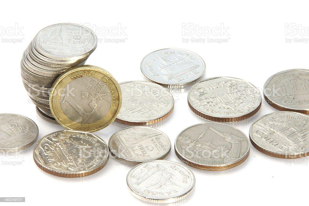 One Euro and Thai Baht royalty-free stock photo