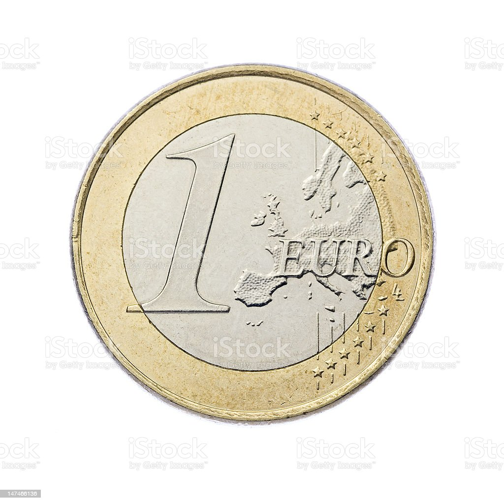 One euro coin - currency of Europe stock photo
