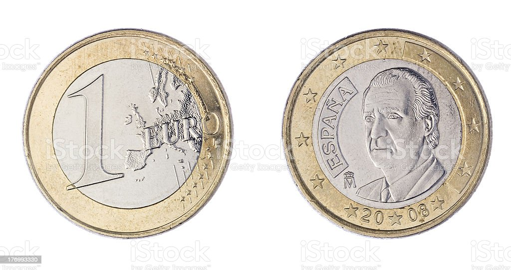 One Euro Coin Front and Rear stock photo