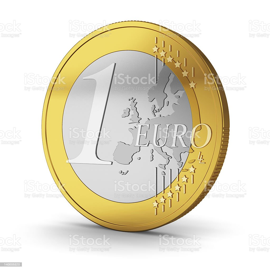 One Euro coin isolated on white background stock photo