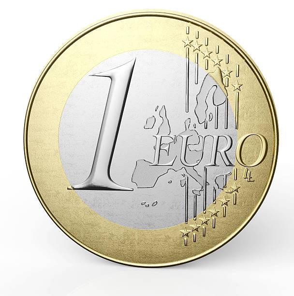 Ein-euro-Münze isoliert auf weißem Hintergrund – Foto