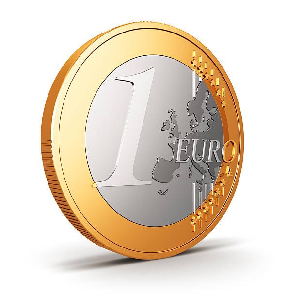 ein-euro-münze isoliert auf weiss - euro symbol stock-fotos und bilder