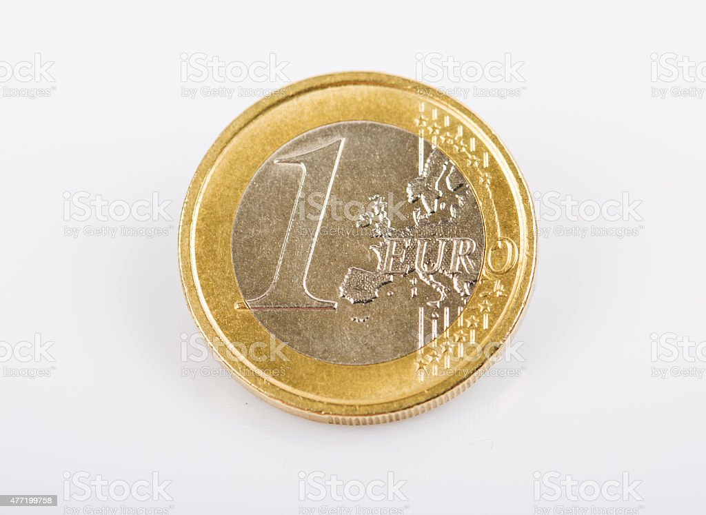 One Euro Coin Isolated stock photo