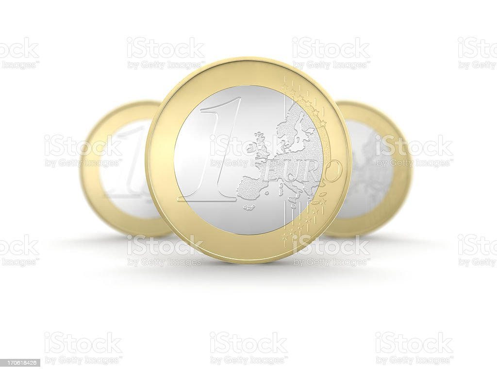 One euro coin on focus royalty-free stock photo