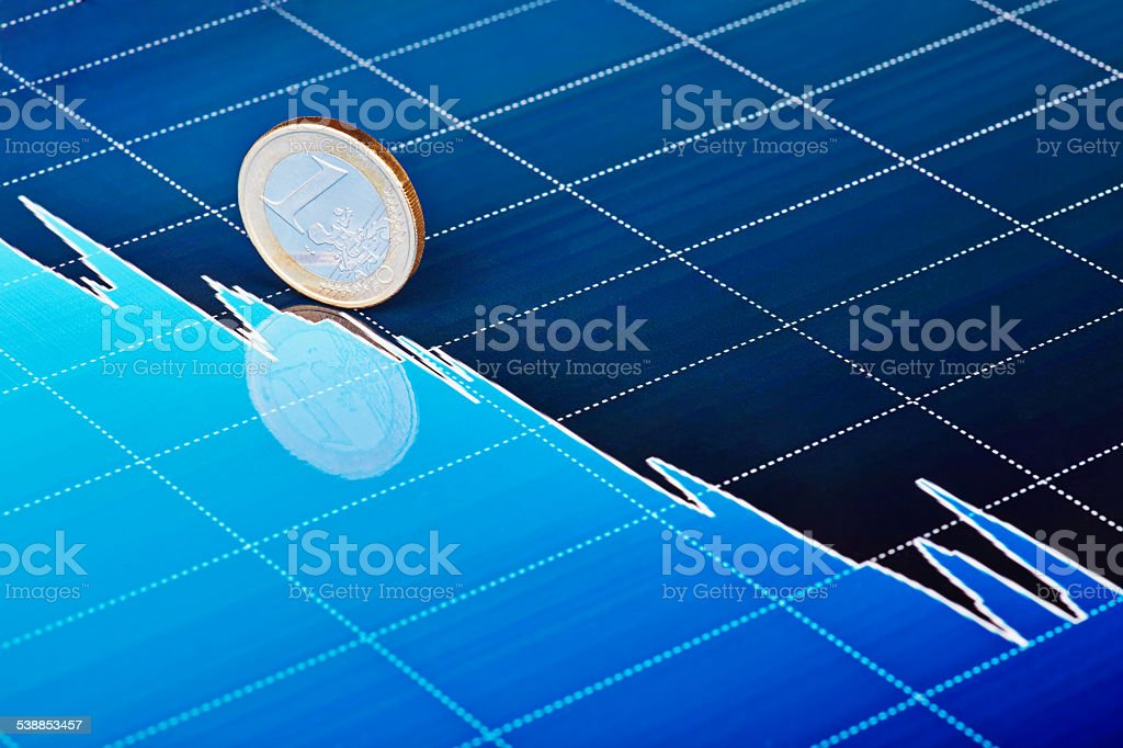 One euro coin slides down on downtrend chart. Selective focus stock photo