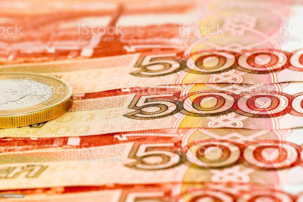 one euro on five thousand rubles Lizenzfreies stock-foto