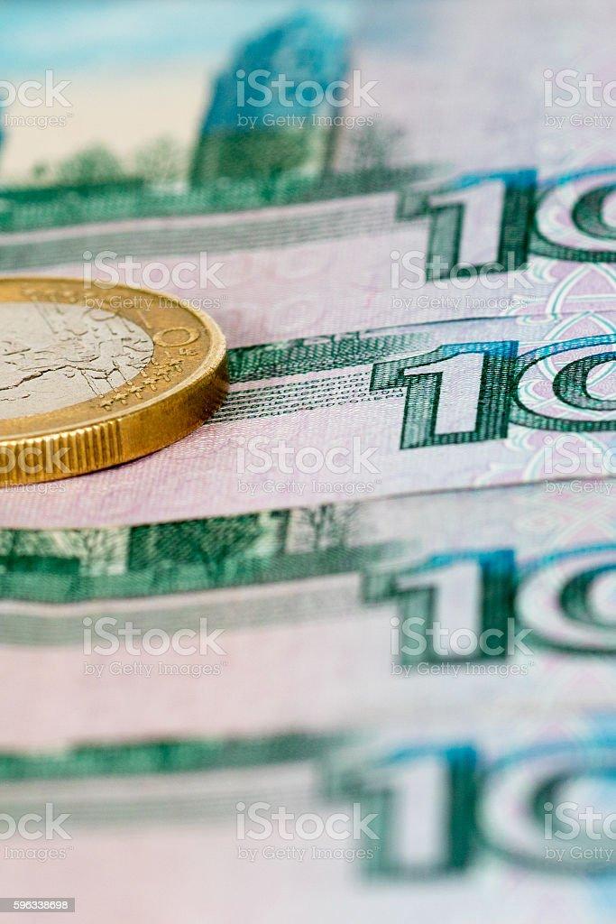 one euro on thousand rubles Lizenzfreies stock-foto
