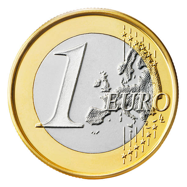 One Euro One Euro coin isolated on white background  More like this euro symbol stock pictures, royalty-free photos & images