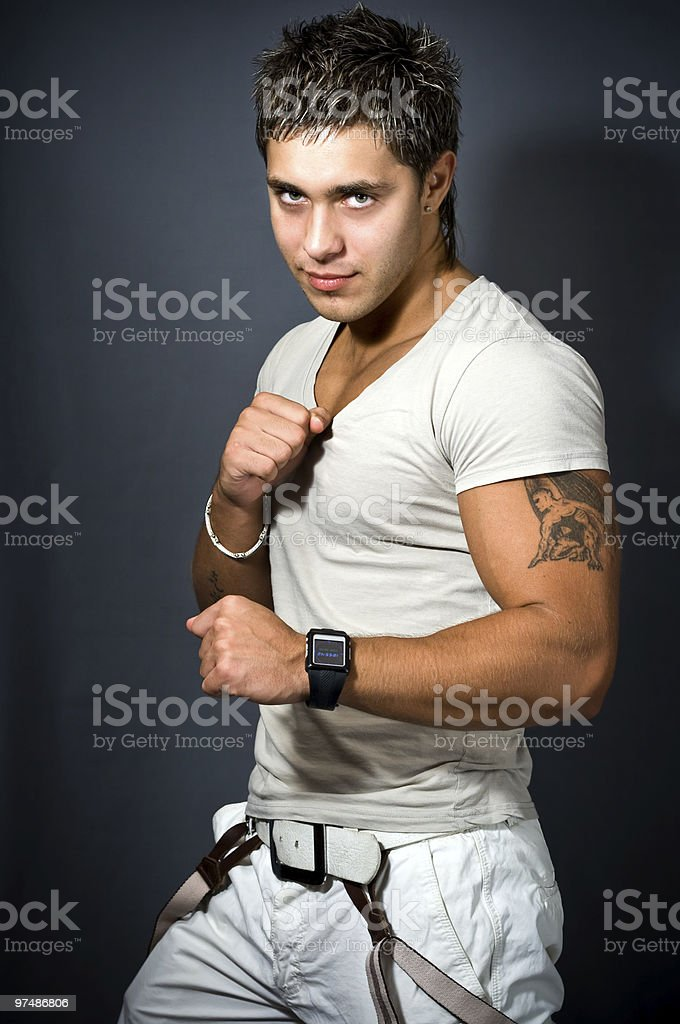One fashionable sexy handsome man royalty-free stock photo