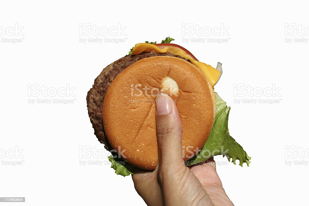 One Fast Food Cheeseburger royalty-free stock photo