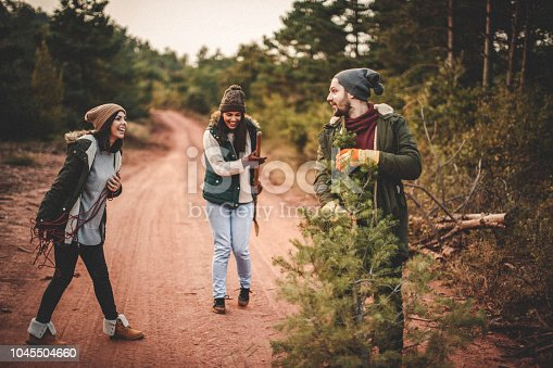 629376126istockphoto One fine day in forest and our new Christmas tree 1045504660