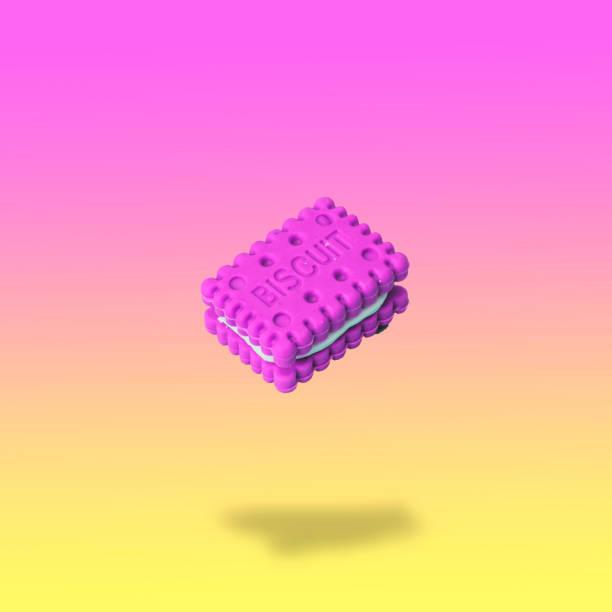 man fliegt in die luft pink cookie in form eines sandwiches mit sahne. - neon partylebensmittel stock-fotos und bilder