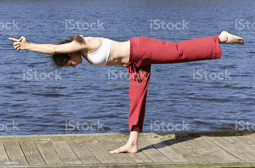 One foot yoga pose royalty-free stock photo