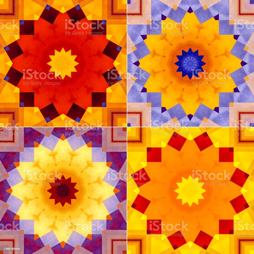 One fractal dodecagram star in four colourways square format stock photo