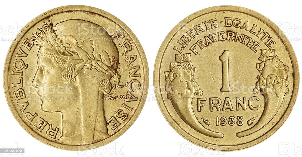 One Franc Coin Isolated royalty-free stock photo