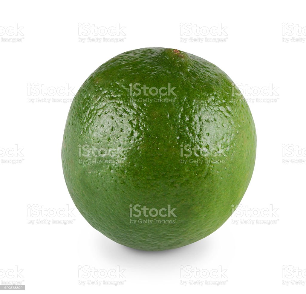 One fresh green lime citrus closeup isolated on white background foto de stock royalty-free