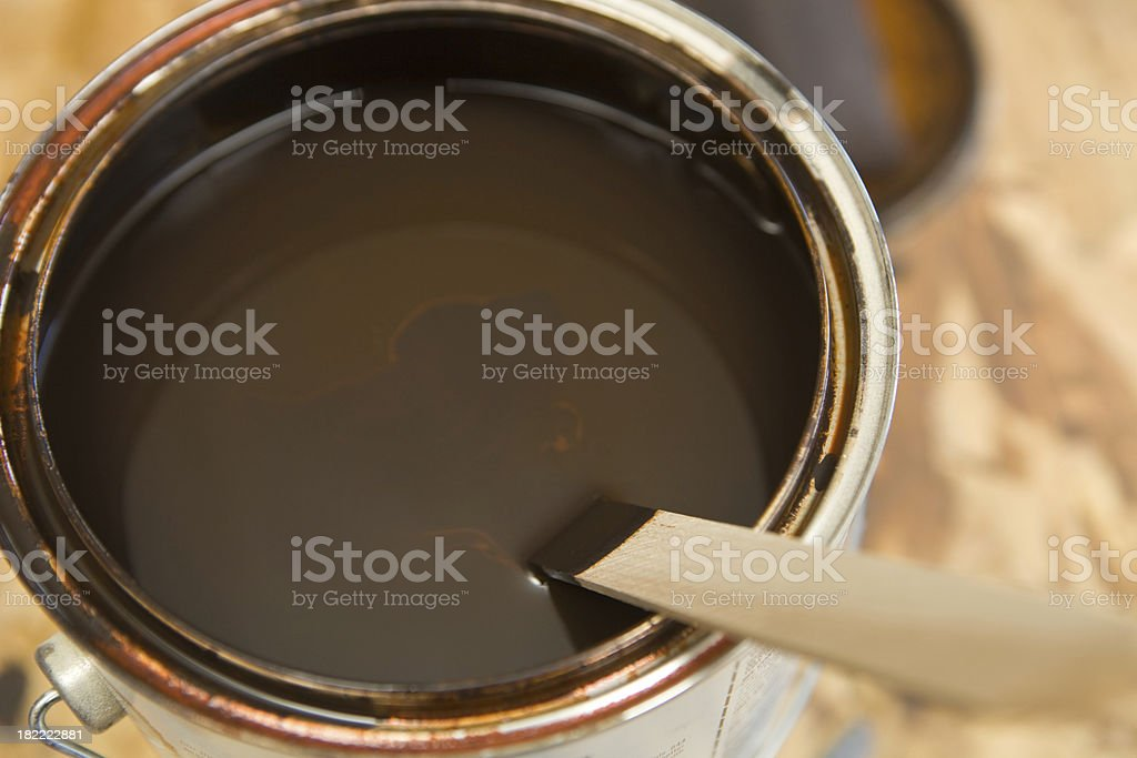 One Gallon of Dark Wood Stain with Stir Stick royalty-free stock photo