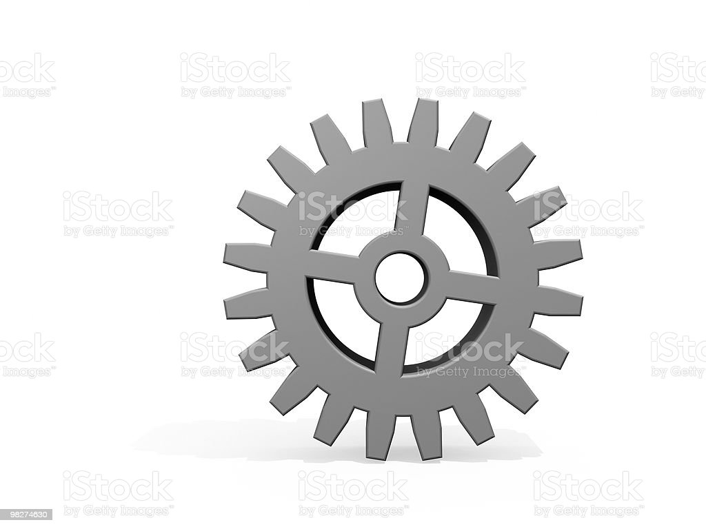 One Gear on White royalty-free stock photo