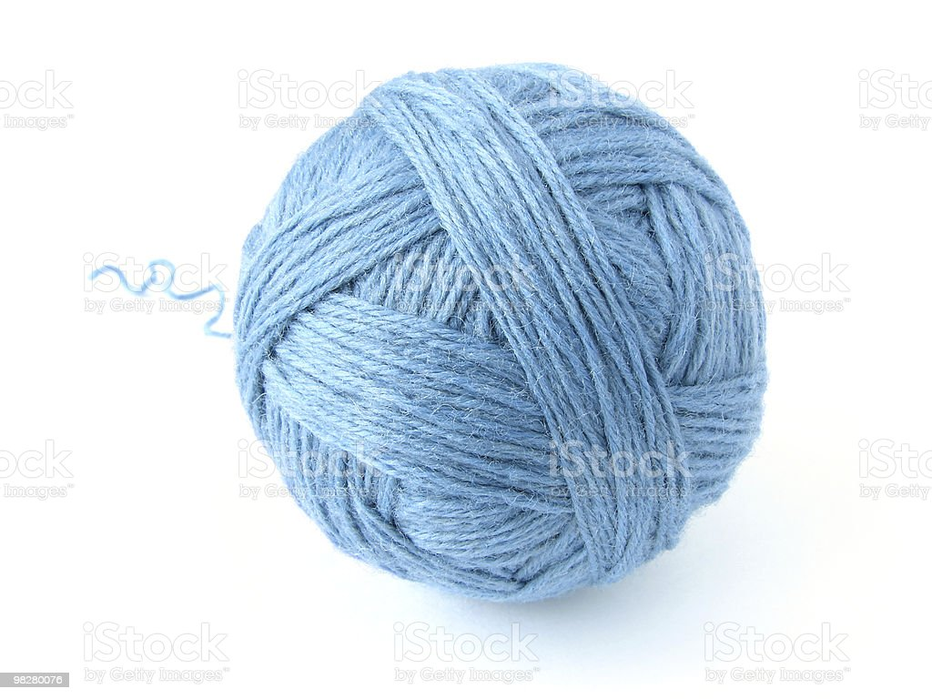 One giant blue wool skein in white background stock photo