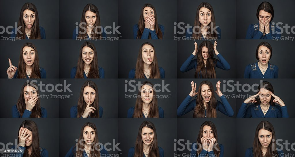 One girl - many faces. Young beautiful girl stock photo