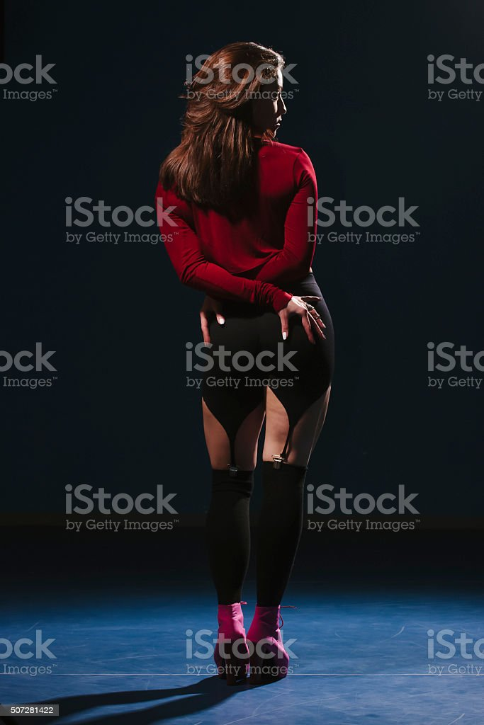 One girl posing in Vouge dance style. stock photo