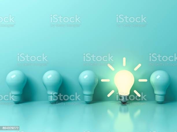One glowing idea bulb standing out from unlit incandescent bulbs on picture id854329272?b=1&k=6&m=854329272&s=612x612&h=uxnnwsiyulgx4bgsfwgvv30mfglti7hwiu 0yorkqa4=