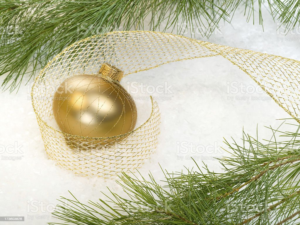 One Gold ornament and ribbon with white pine stock photo