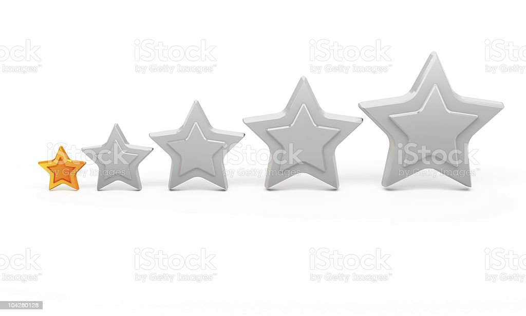 One gold star and four silver for ranking royalty-free stock photo