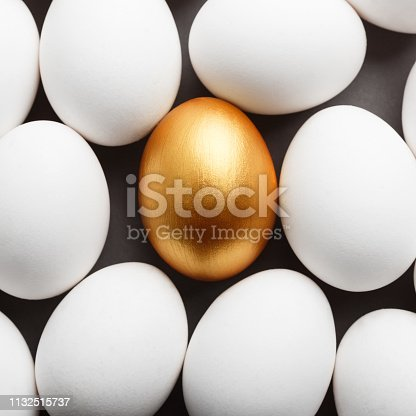 Uniqueness and success. One golden egg between group of white eggs, copy space