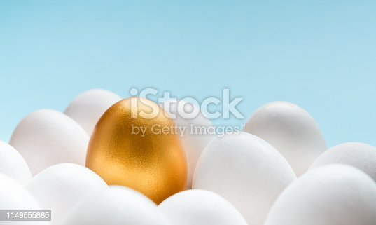 Winner, exclusivity and financial success. One golden egg on top of group of white eggs, grey background, copy space