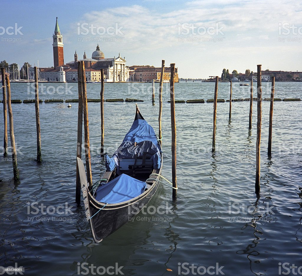 One gondola in front of San Giorgio Maggiore royalty-free stock photo