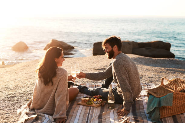 One great date deserves many more Shot of a happy young couple having a picnic and toasting with wine at the beach picnic stock pictures, royalty-free photos & images