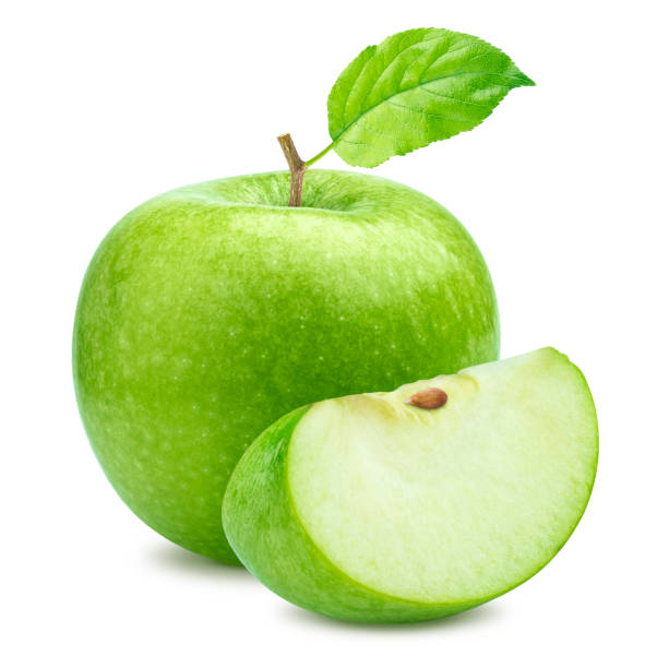 One green apple and quarter piece isolated on white background stock photo