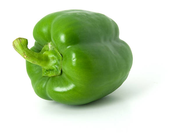 One green bell pepper isolated on a plain white background stock photo