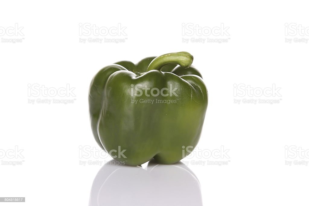 One green bell pepper stock photo