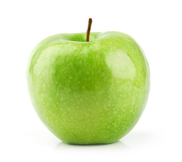 One green Granny Smith Apple on white background stock photo