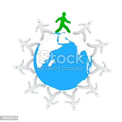 istock One green human figure walking around the blue world 93533073