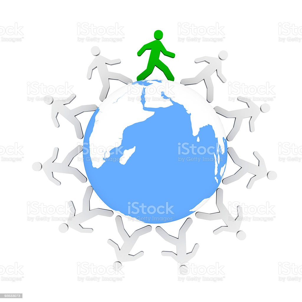 One green human figure walking around the blue world stock photo