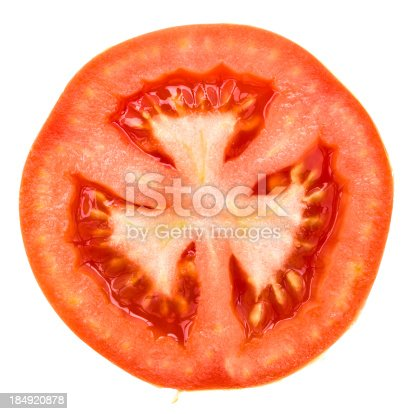 one half of tomato on white with extremity clipping paths
