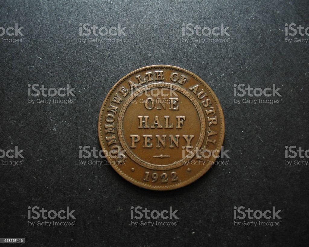 One Half Penny Vintage Australian Coin. Reverse. photo libre de droits