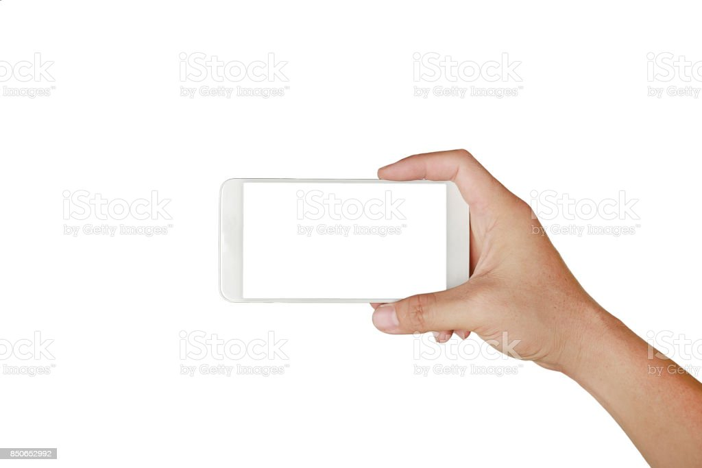 One hand holding mobile smartphone with white screen. Mobile photography concept. Isolated on white. stock photo