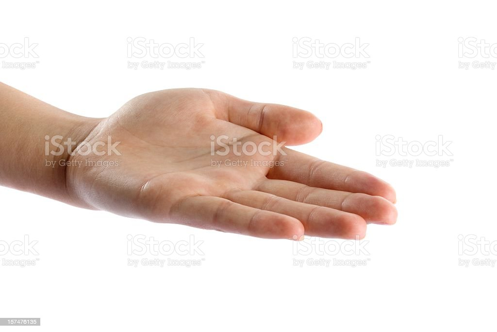 One hand open isolated stock photo