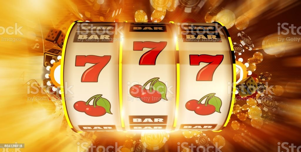 One Handed Fruit Machine stock photo