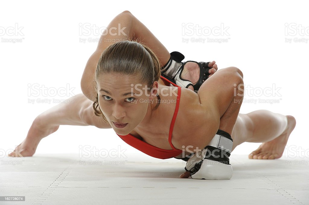 One handed push-up royalty-free stock photo