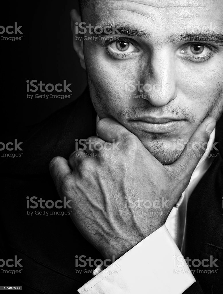 One handsome elegant masculine young man royalty-free stock photo