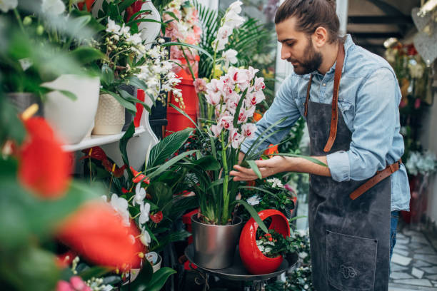 One handsome male florist stock photo