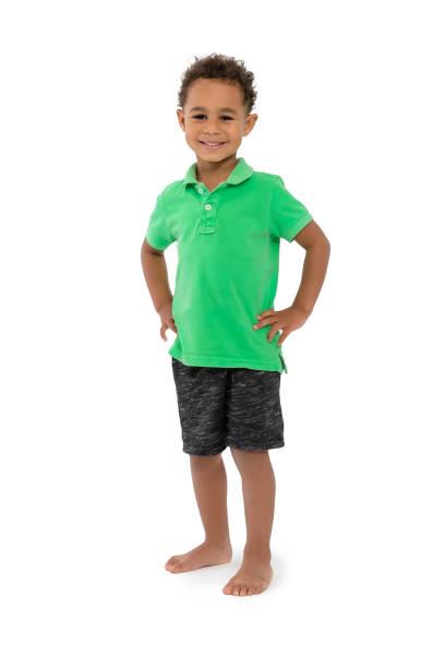 One happy boy child white background stock photo