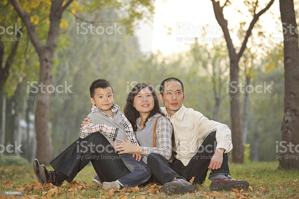 one happy china family in park royalty-free stock photo