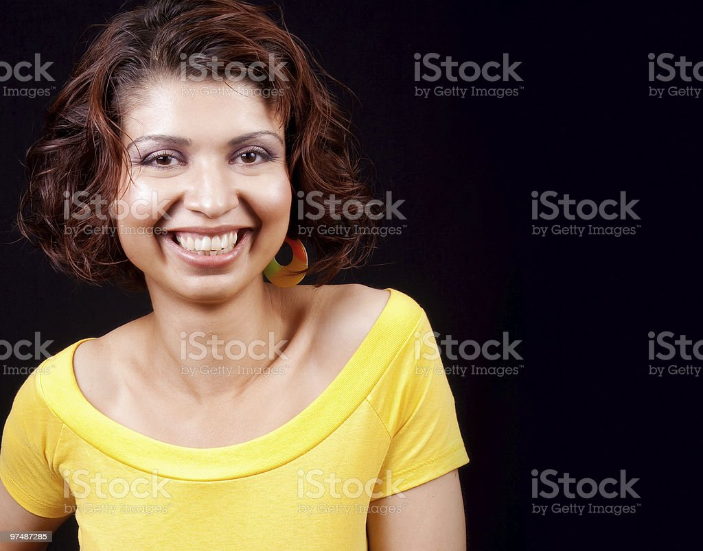 One happy joyful woman isolated on black royalty-free stock photo